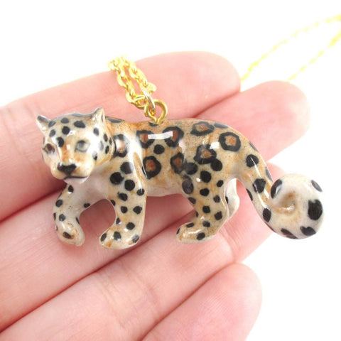 Porcelain Leopard Jaguar Shaped Ceramic Animal Pendant Necklace