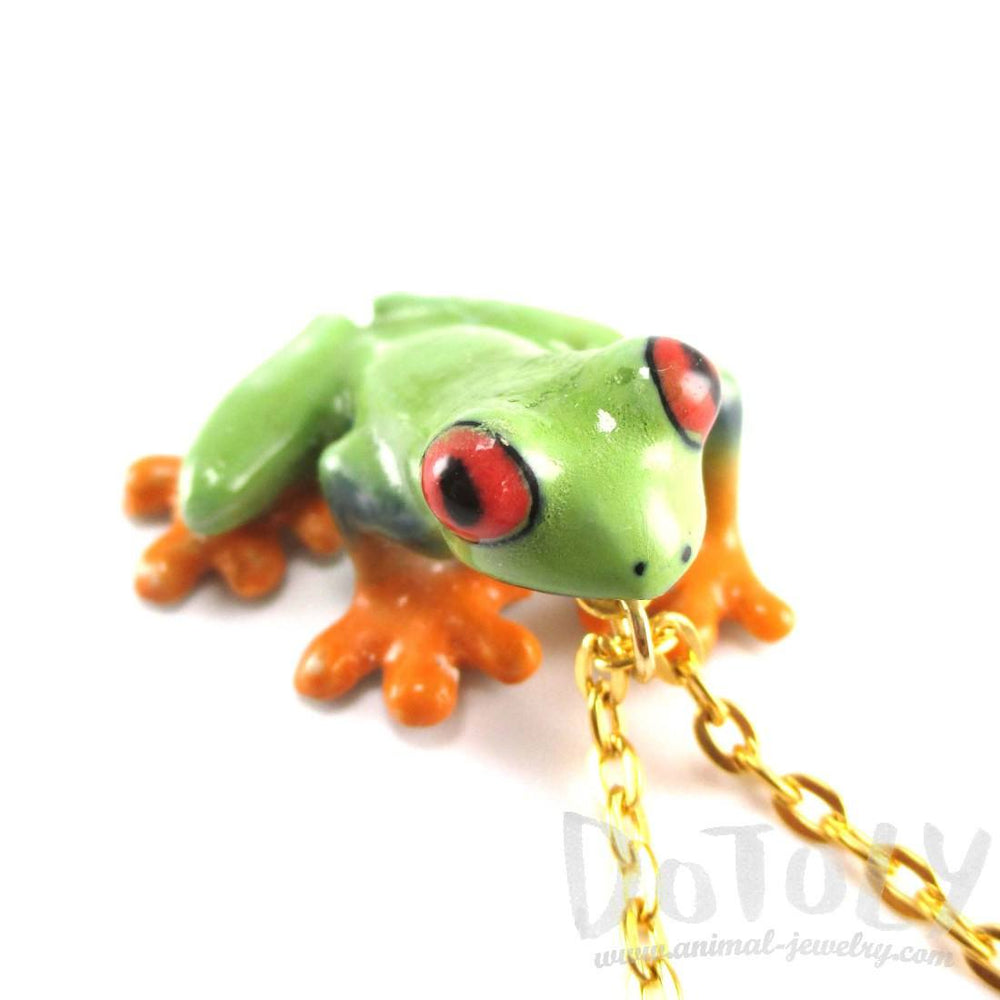 Porcelain Red Eyed Tree Frog Shaped Ceramic Animal Pendant Necklace