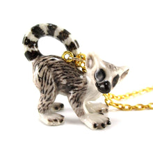 Porcelain Ring Tailed Lemur Shaped Ceramic Animal Pendant Necklace