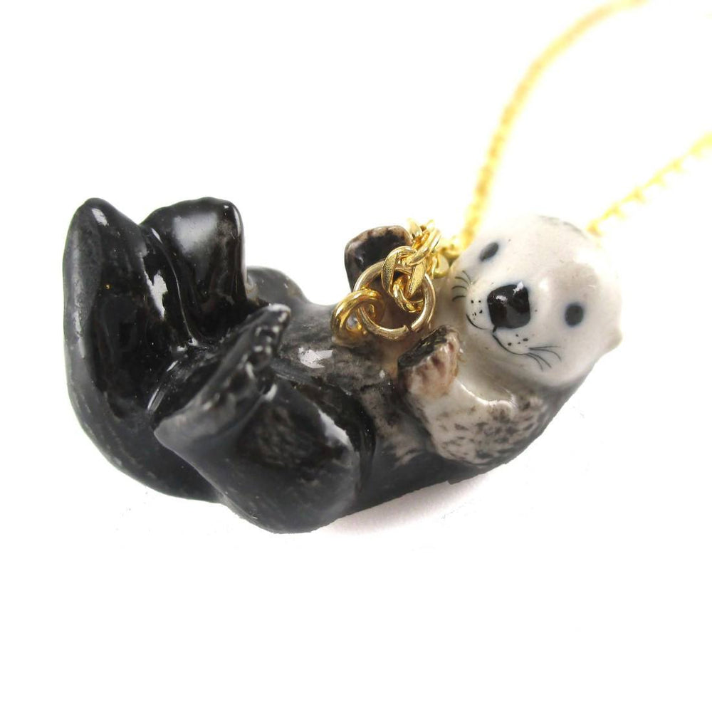 Porcelain Sea Otter Shaped Handmade Ceramic Animal Pendant Necklace
