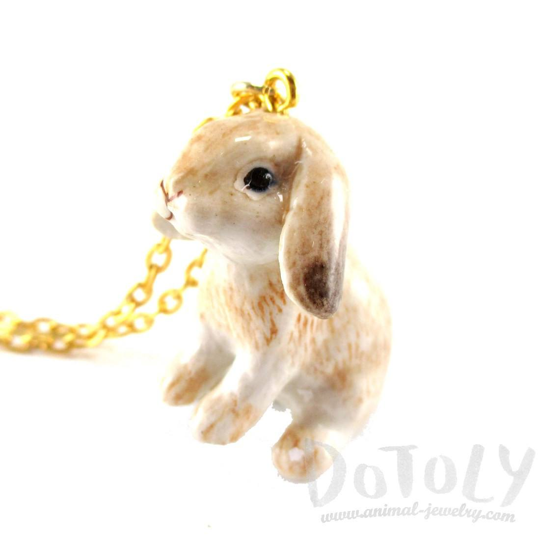 Porcelain Sitting Bunny Rabbit Shaped Ceramic Animal Pendant Necklace