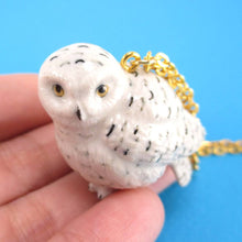 Porcelain Snowy Owl Hedwig Bird Shaped Ceramic Animal Pendant Necklace