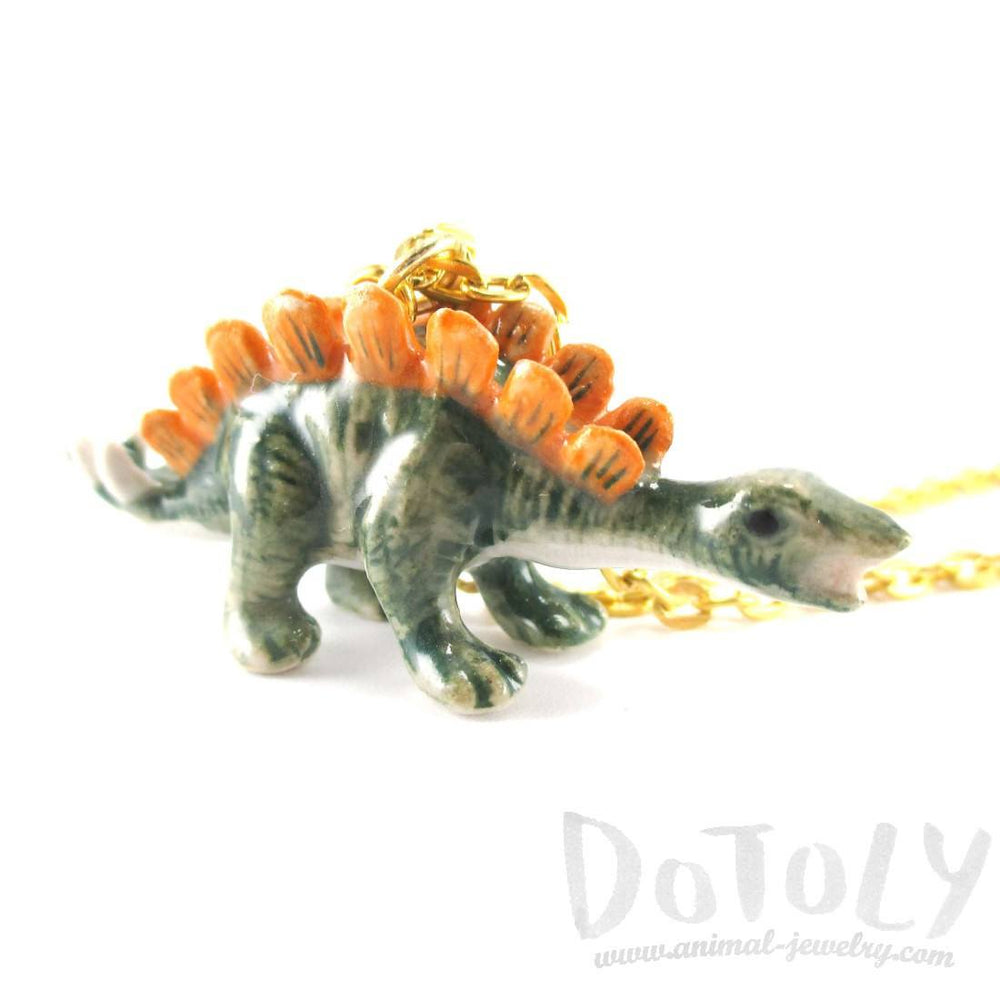 Porcelain Stegosaurus Dinosaur Shaped Ceramic Animal Pendant Necklace