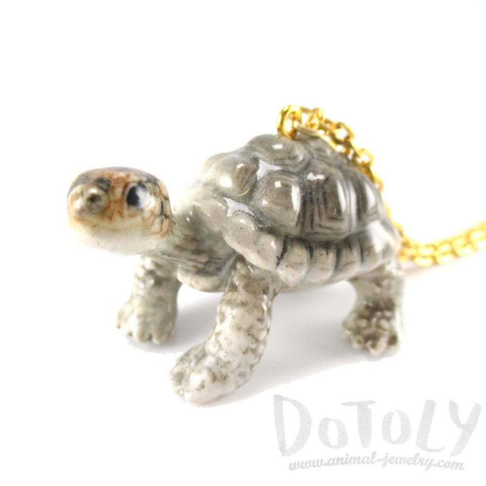 Porcelain Tortoise Turtle Shaped Ceramic Animal Pendant Necklace