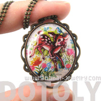 Pretty Bambi Deer In a Field of Flowers Illustrated Pendant Necklace
