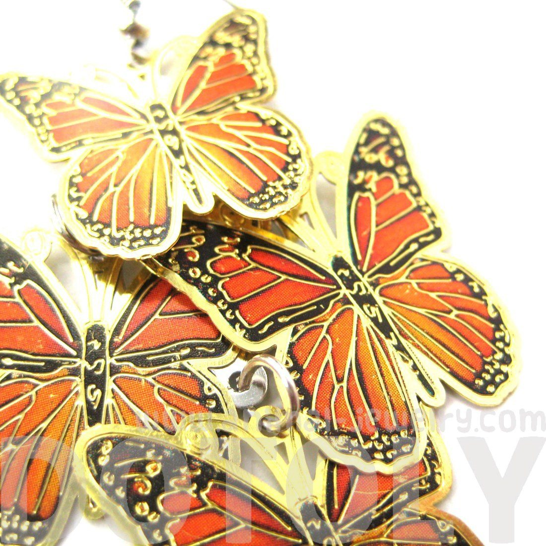 Pretty Butterfly Shaped Layered Dangle Drop Earrings in Orange on Gold