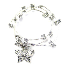 Pretty Butterfly Shaped Stretchy Wrap Charm Bracelet in Silver: DOTOLY