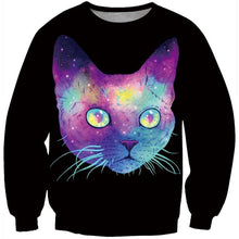 Pretty Cat Face Colorful Space Print Sweatshirt for Women in Black