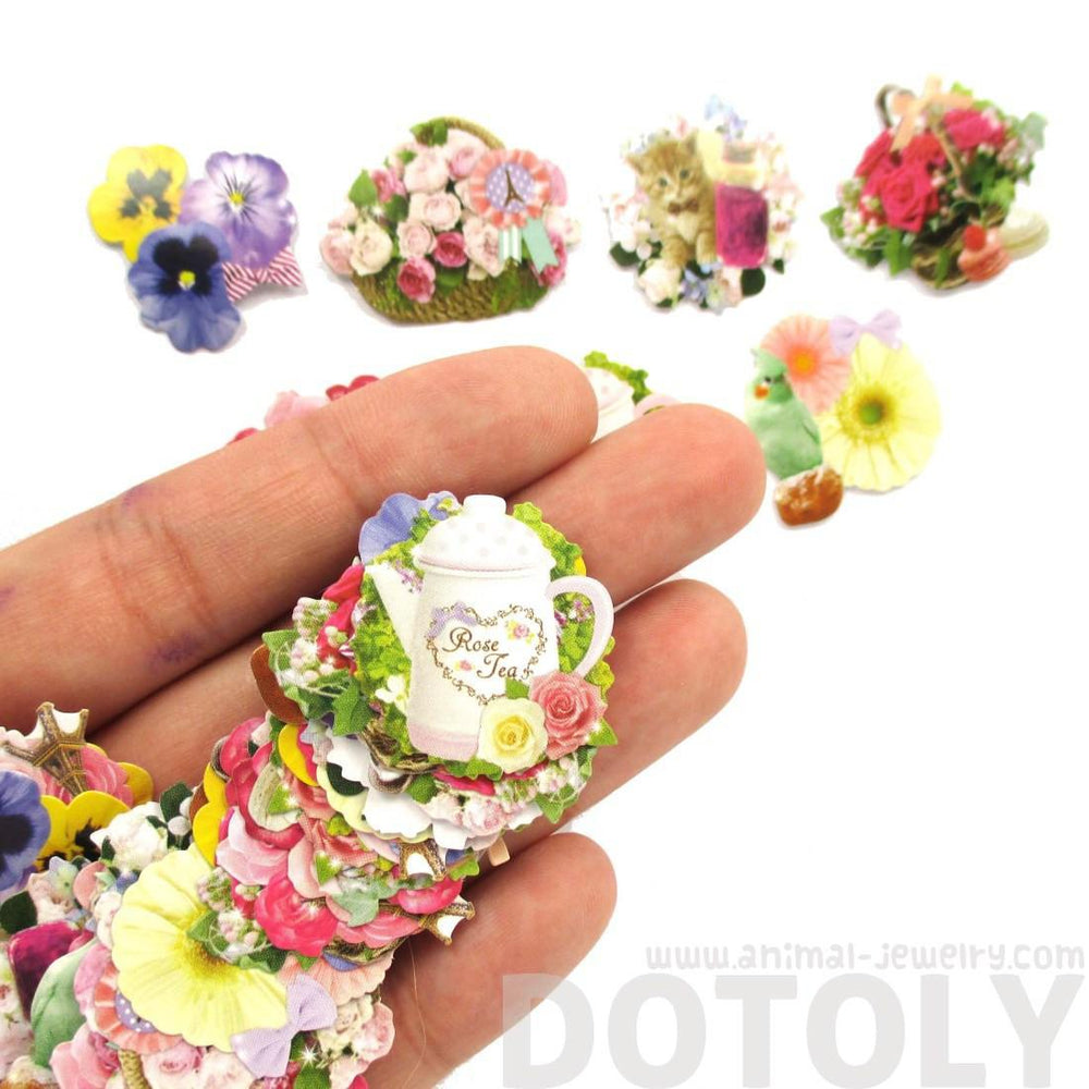 Floral Flower Shaped Sticker Flake Seal Pack From Japan | 70 Pieces