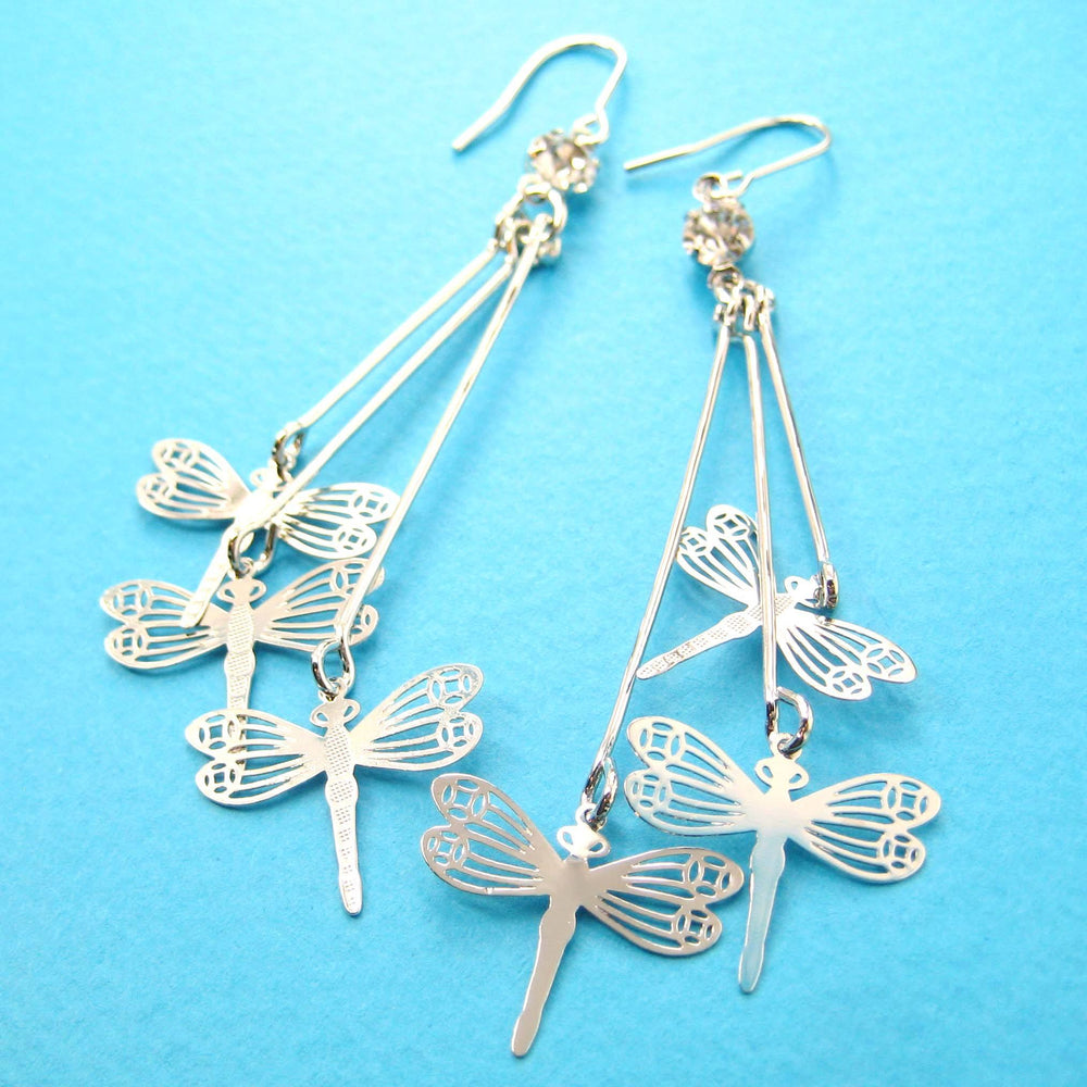 Pretty Dragonfly Shaped Dangle Earrings in Silver | Animal Jewelry