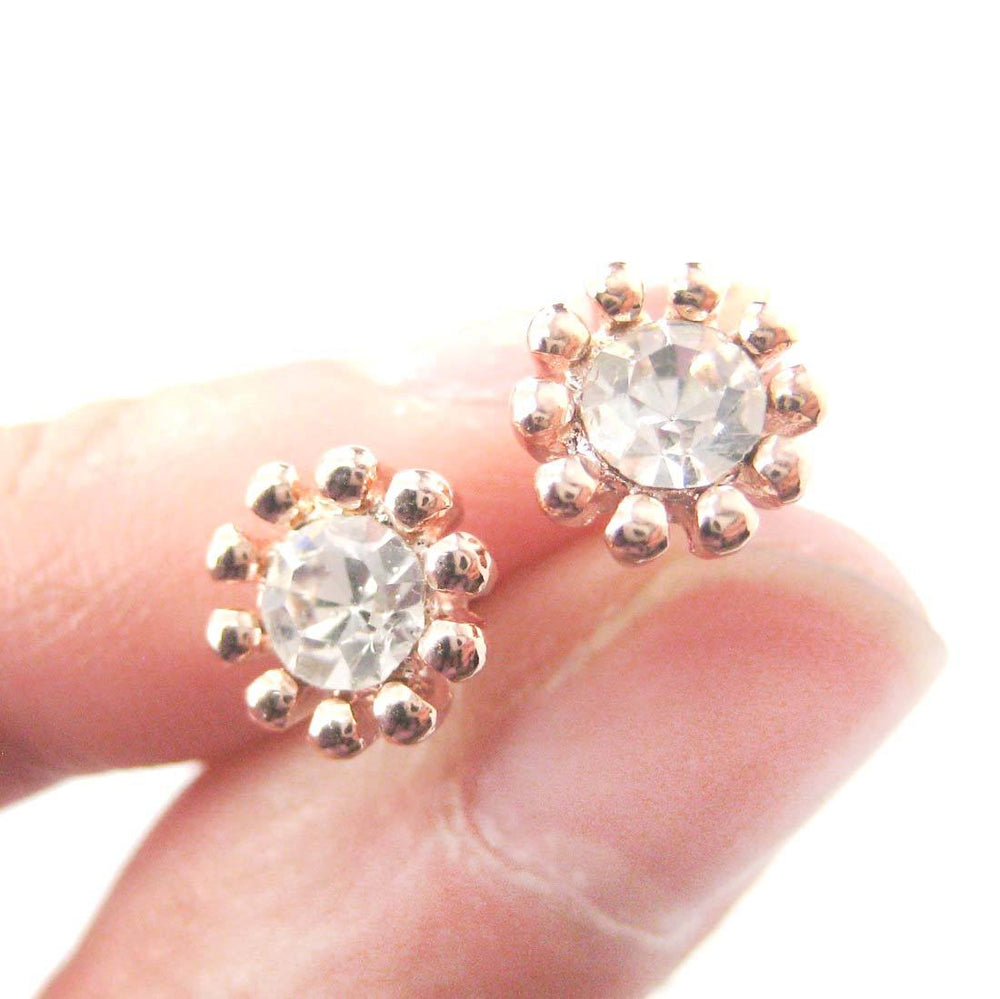 Small Floral Flower Shaped Stud Earrings in Rose Gold with Rhinestones