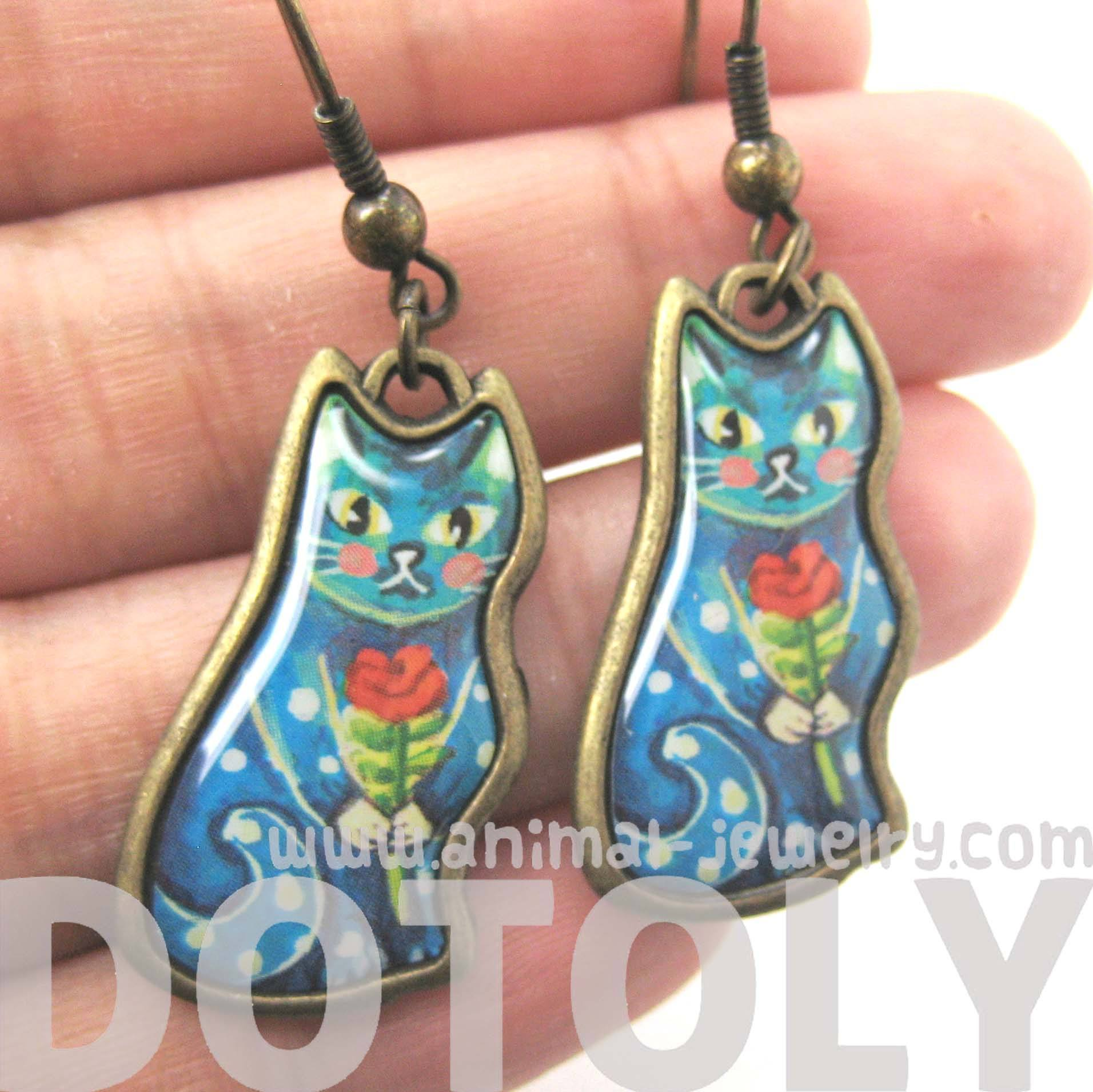 pretty-kitty-cat-animal-dangle-earrings-in-blue-enamel-with-floral-detail-dotoly
