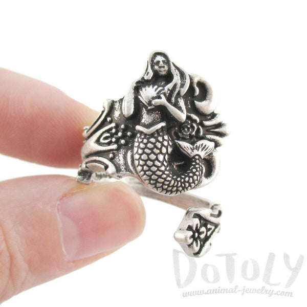 Mermaid Antique Spoon Wrap Ring in Silver | DOTOLY