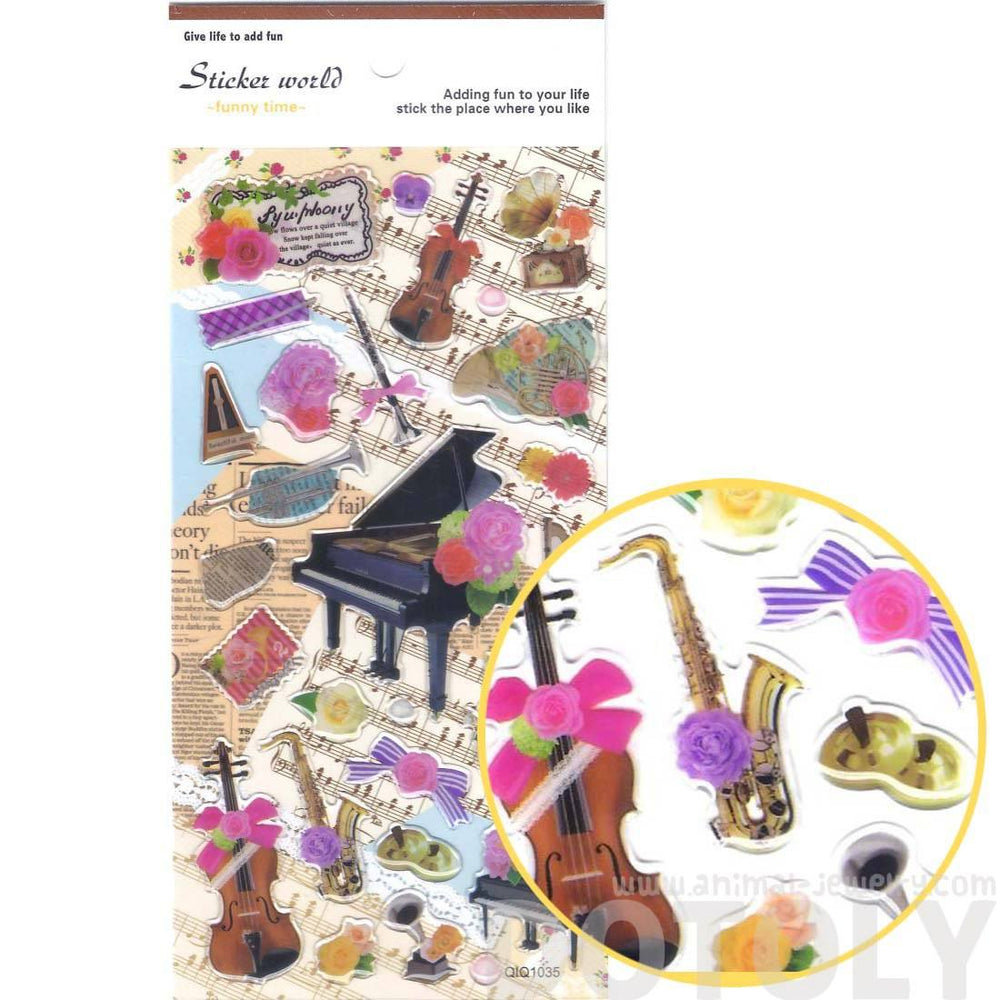 Pretty Musical Instruments Piano Harp Trumpet Violin Shaped Stickers