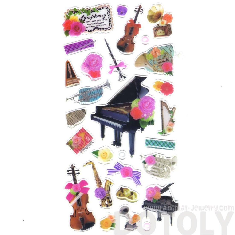 Pretty Musical Instruments Piano Harp Trumpet Violin and Flowers Shaped Music Themed Stickers | DOTOLY