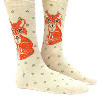 Pretty Orange Fox & Polka Dot Novelty Print Calf High Socks for Women