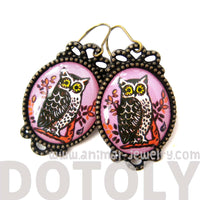 Pretty Oval Owl Bird Illustrated Resin Dangle Earrings | Animal Jewelry