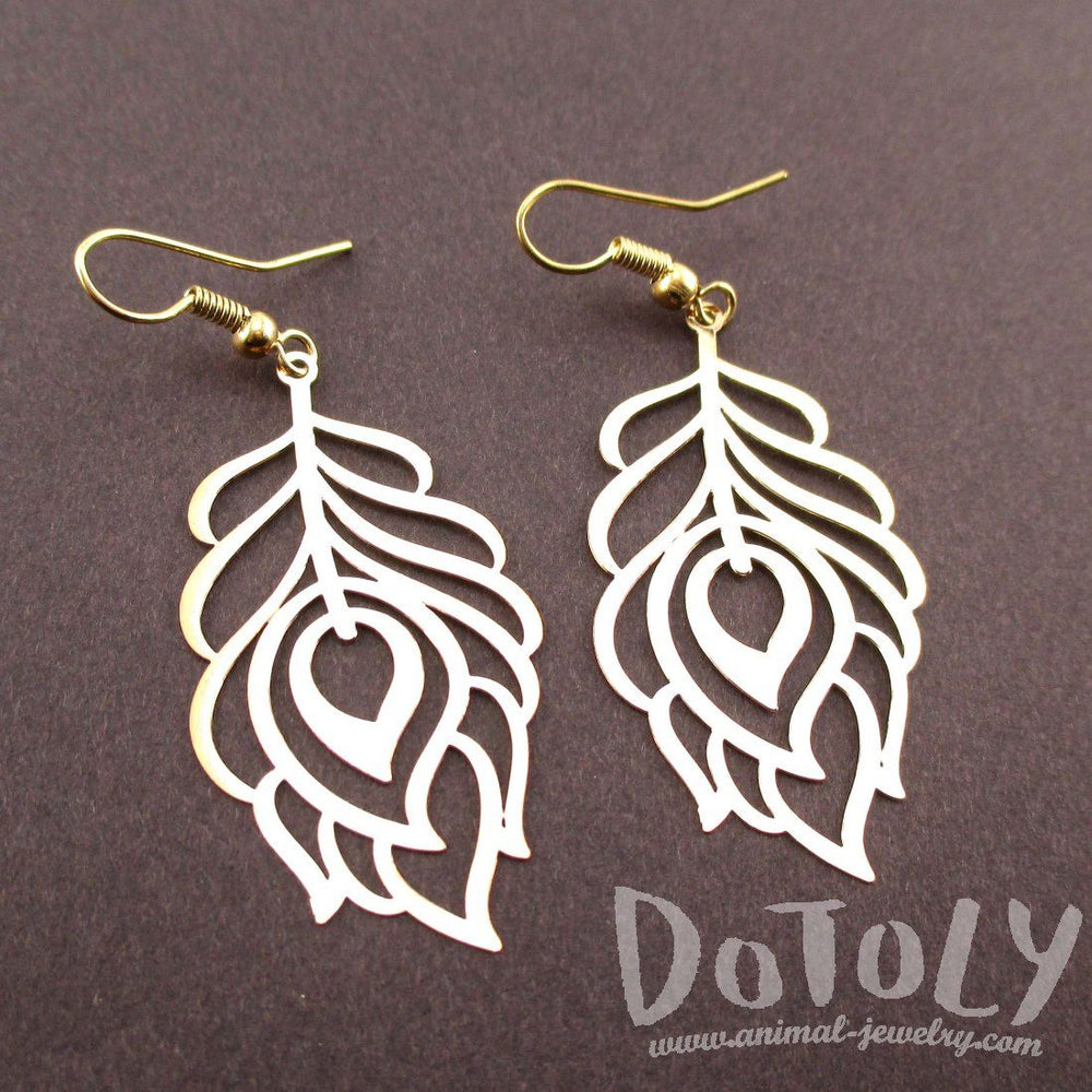 Pretty Peacock Feathers Shaped Dangle Earrings in Gold | DOTOLY