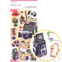 Vintage Cameras Globe Typewriter Photography Travel Themed Stickers