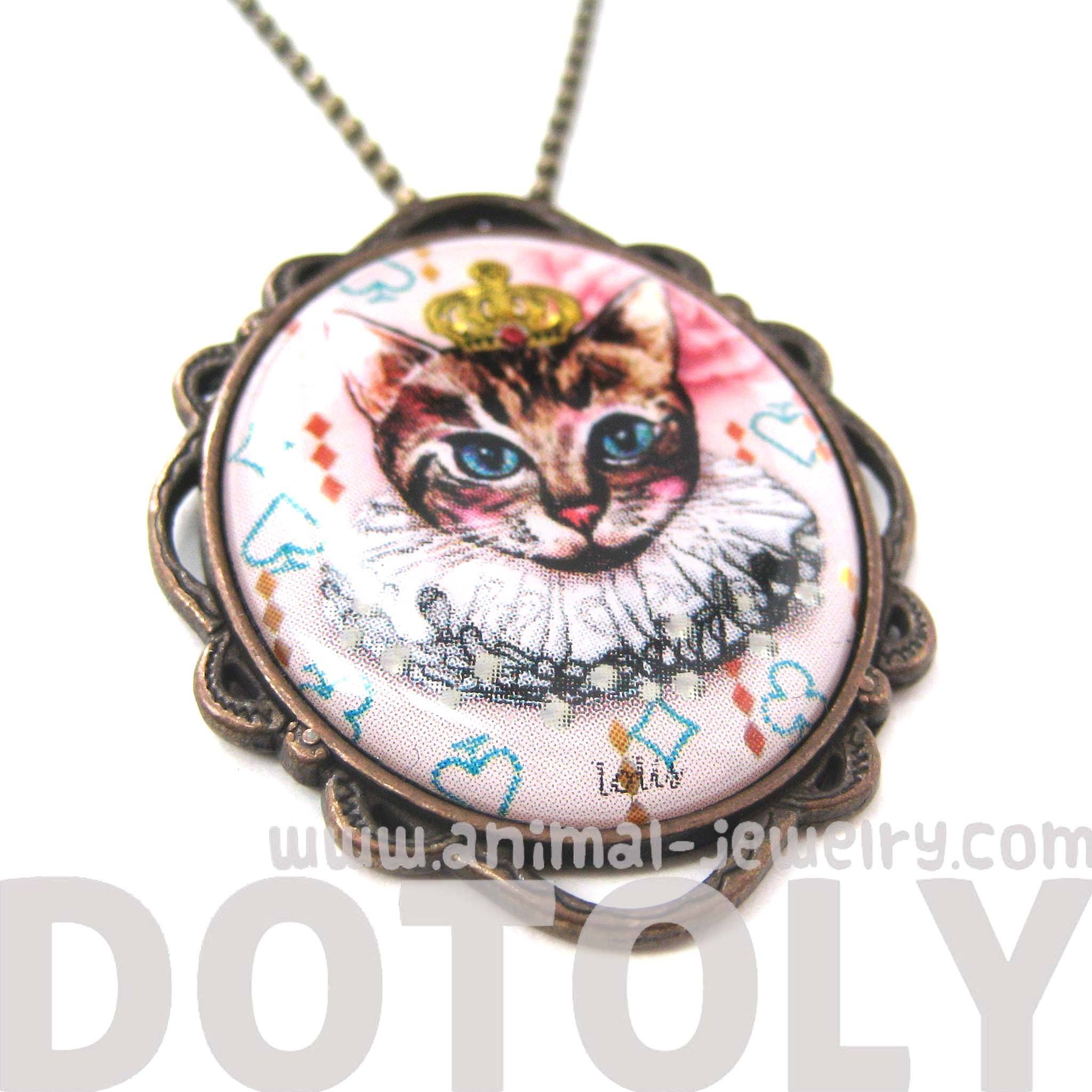 Princess Kitty Royal Cat Shaped Illustrated Oval Pendant Necklace