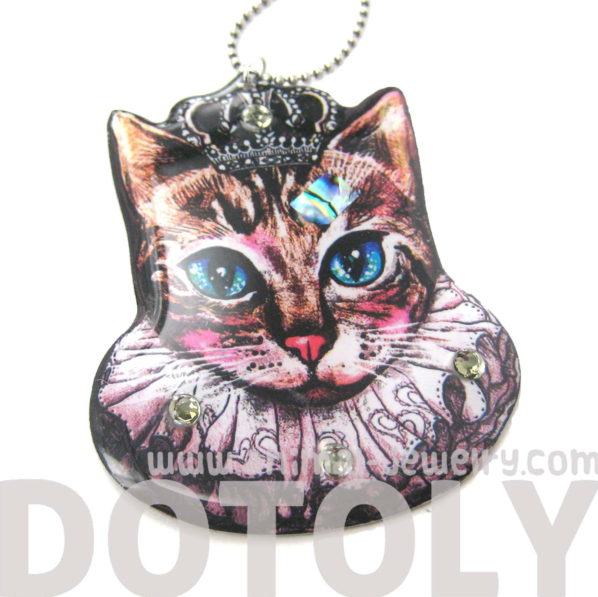 Princess Kitty Royal Cat Shaped Illustrated Resin Pendant Necklace