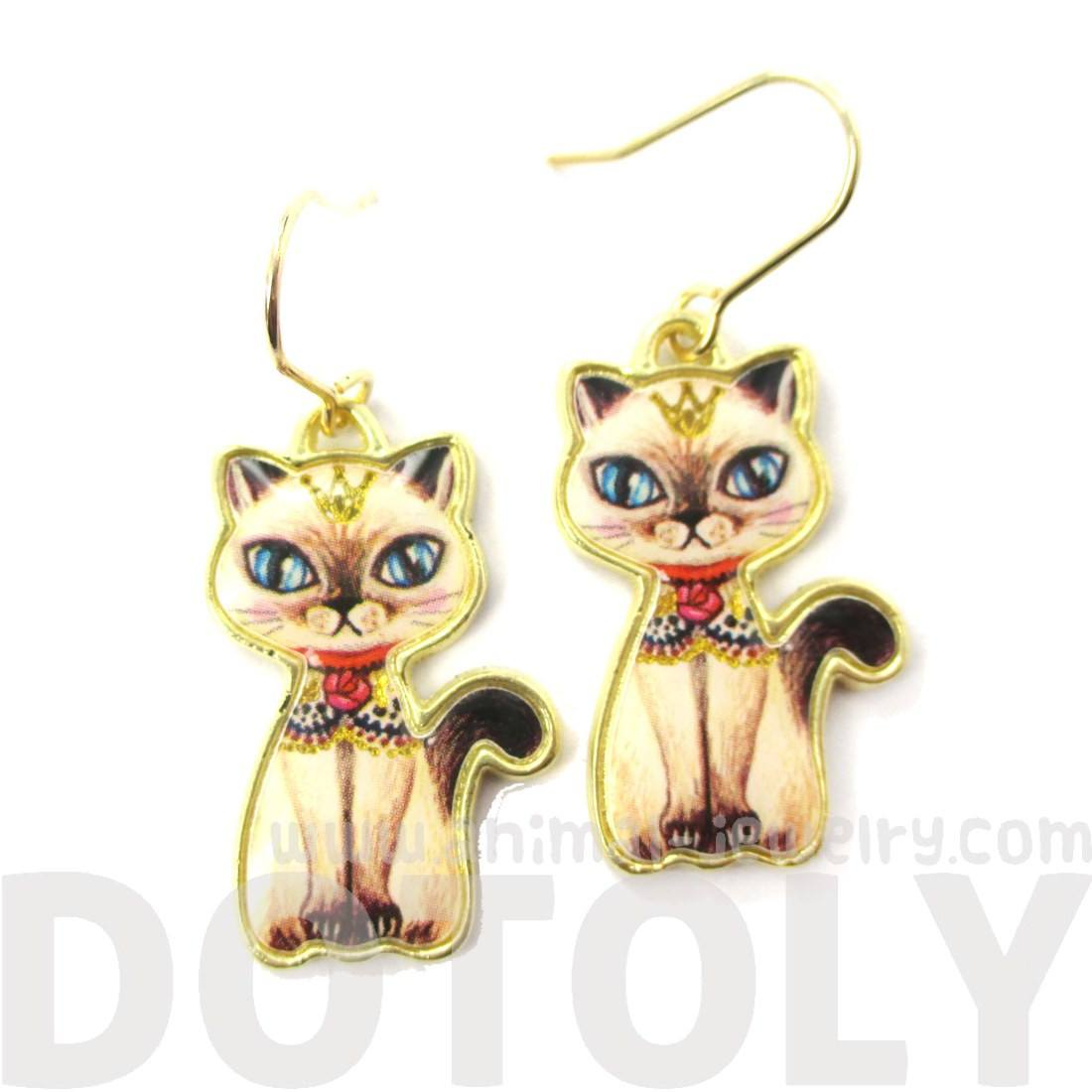 Siamese Kitty Cat Illustrated Animal Dangle Earrings