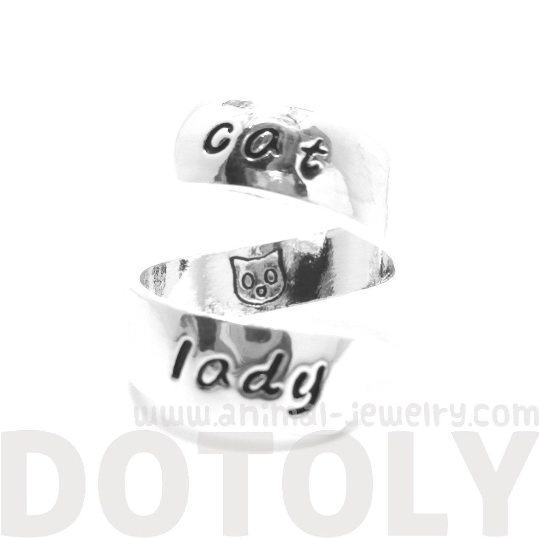 Proud Cat Lady Kitty Cat Engraved Wrap Ring in Silver