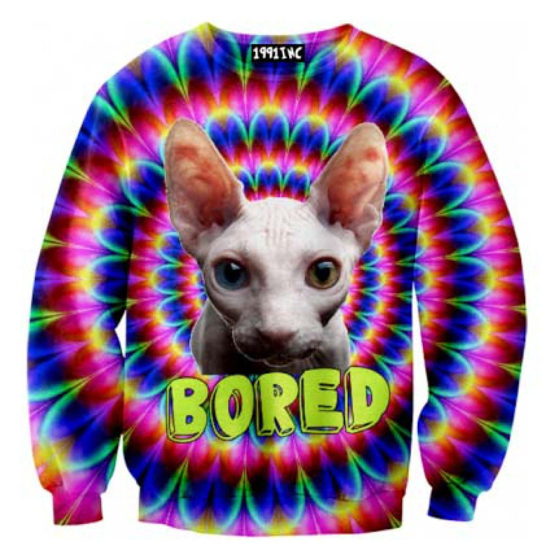 Psychedelic Bored Sphynx Kitty Cat Rainbow Graphic Print Sweater