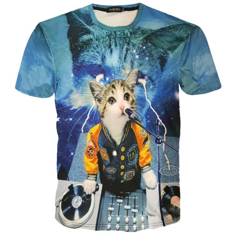 Psychedelic DJ Kitty Cat in Space Print Graphic Print T-Shirt | DOTOLY