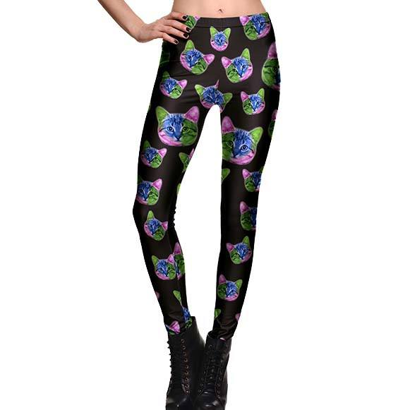 Psychedelic Kitty Cat All Over Print Legging Pants in Black | DOTOLY