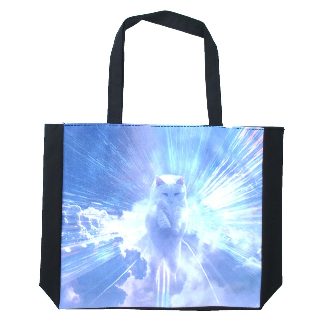Psychedelic Kitty Cat in The Sky Art Print Shopper Tote Shoulder Bag