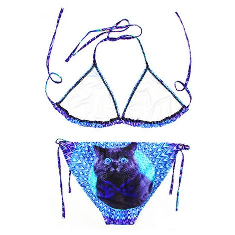 psychedelic-trippy-kitty-cat-face-all-over-print-triangle-bikini-set-gifts-for-cat-lovers