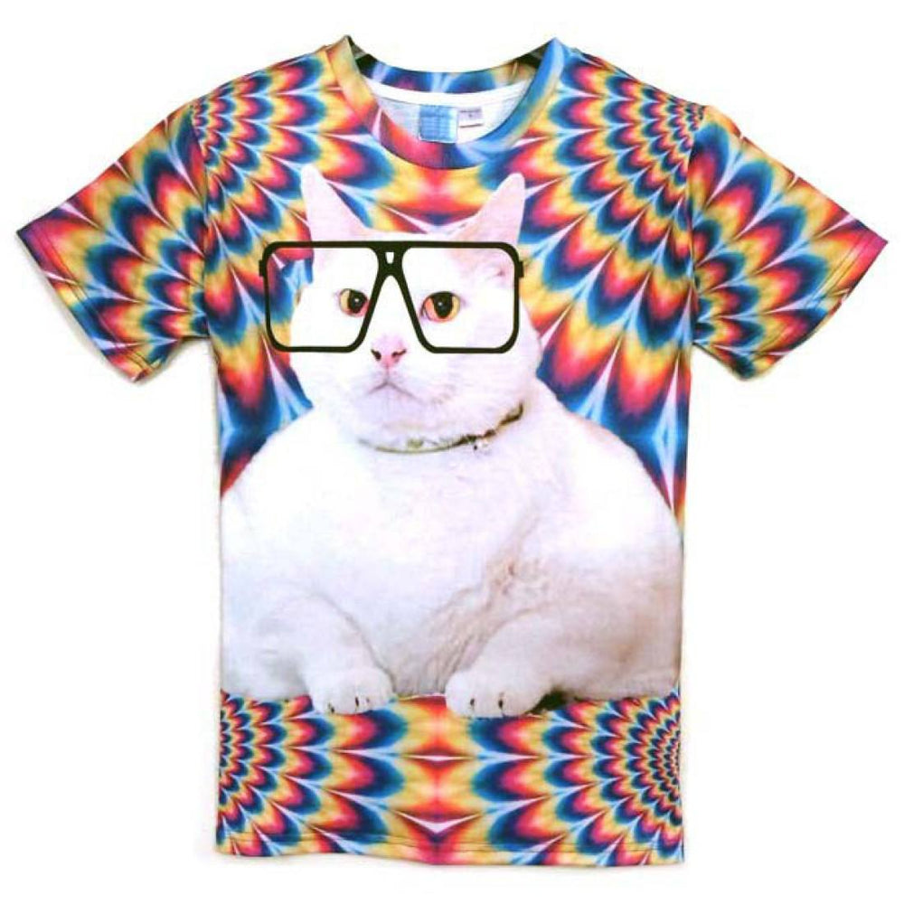 Psychedelic Kitty Cat Face Graphic All Over Print Tee