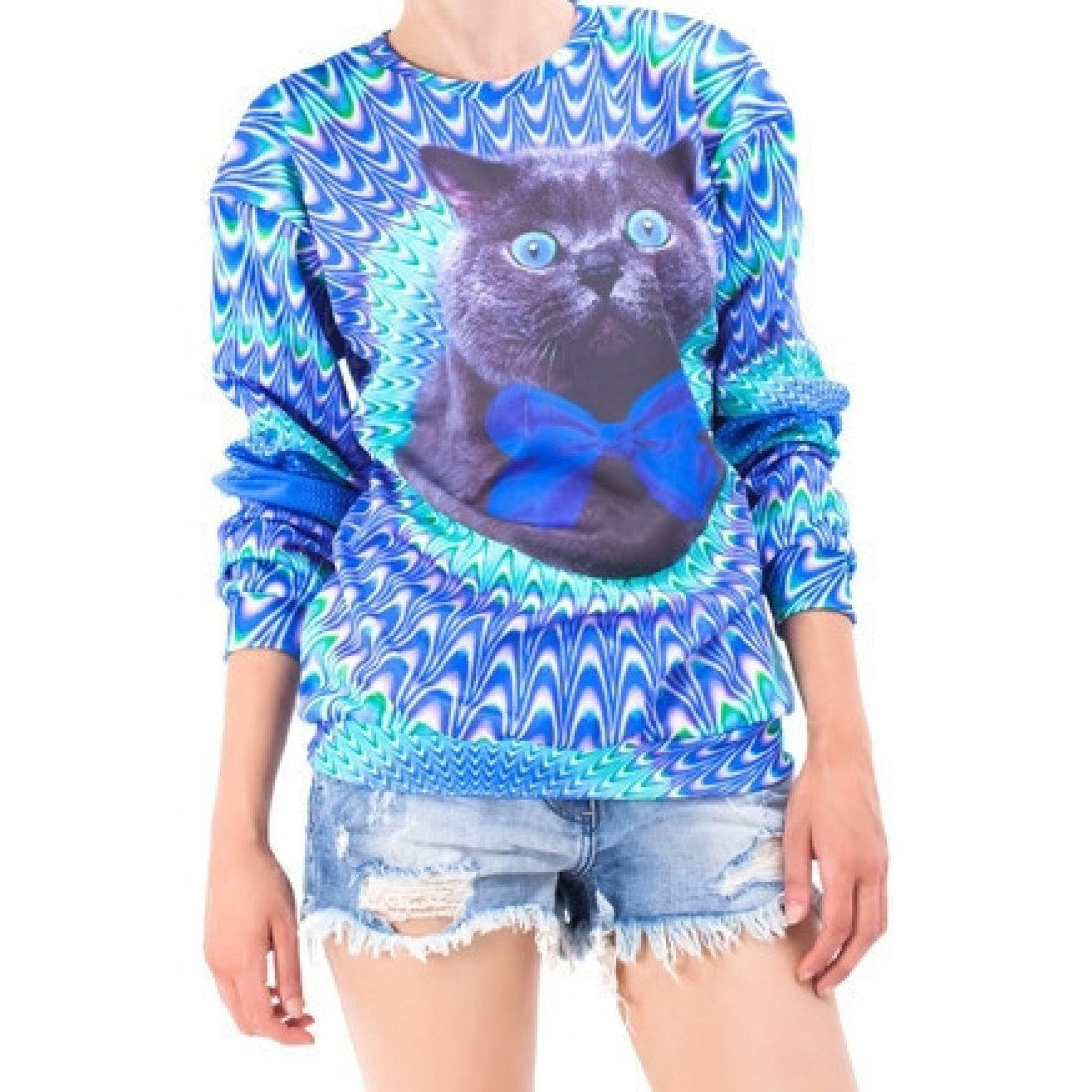 Psychedelic Trippy Kitty Cat Face Graphic Print Unisex Sweater in Blue