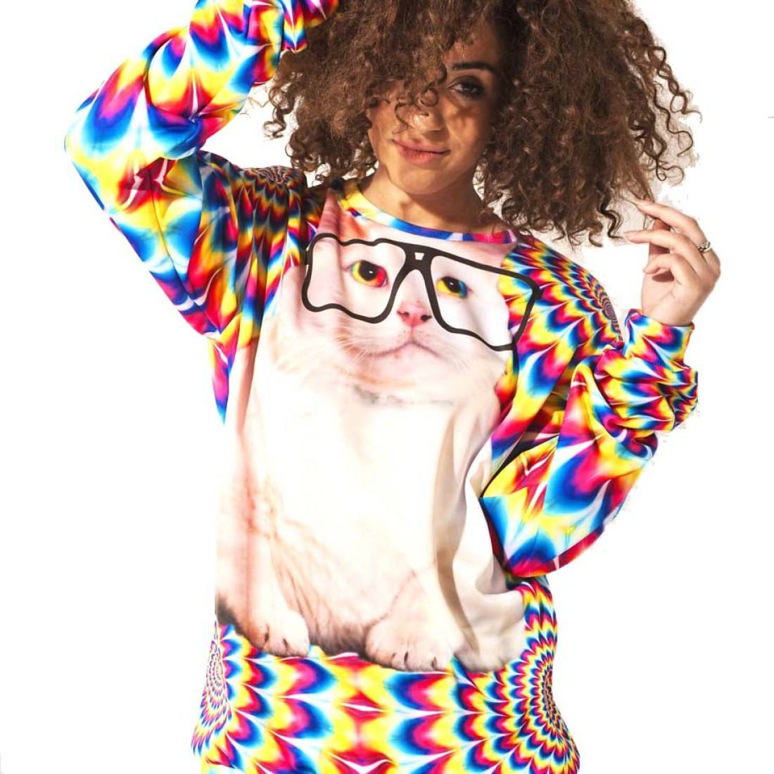 Trippy Kitty Cat Face Rainbow Print Unisex Oversized Pullover Sweater