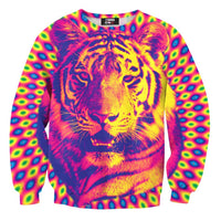 Psychedelic Trippy Tiger Face Graphic Print Unisex Pullover Sweater