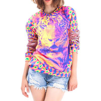 Psychedelic Trippy Tiger Face Graphic Rainbow Print Sweatshirt Sweater | DOTOLY
