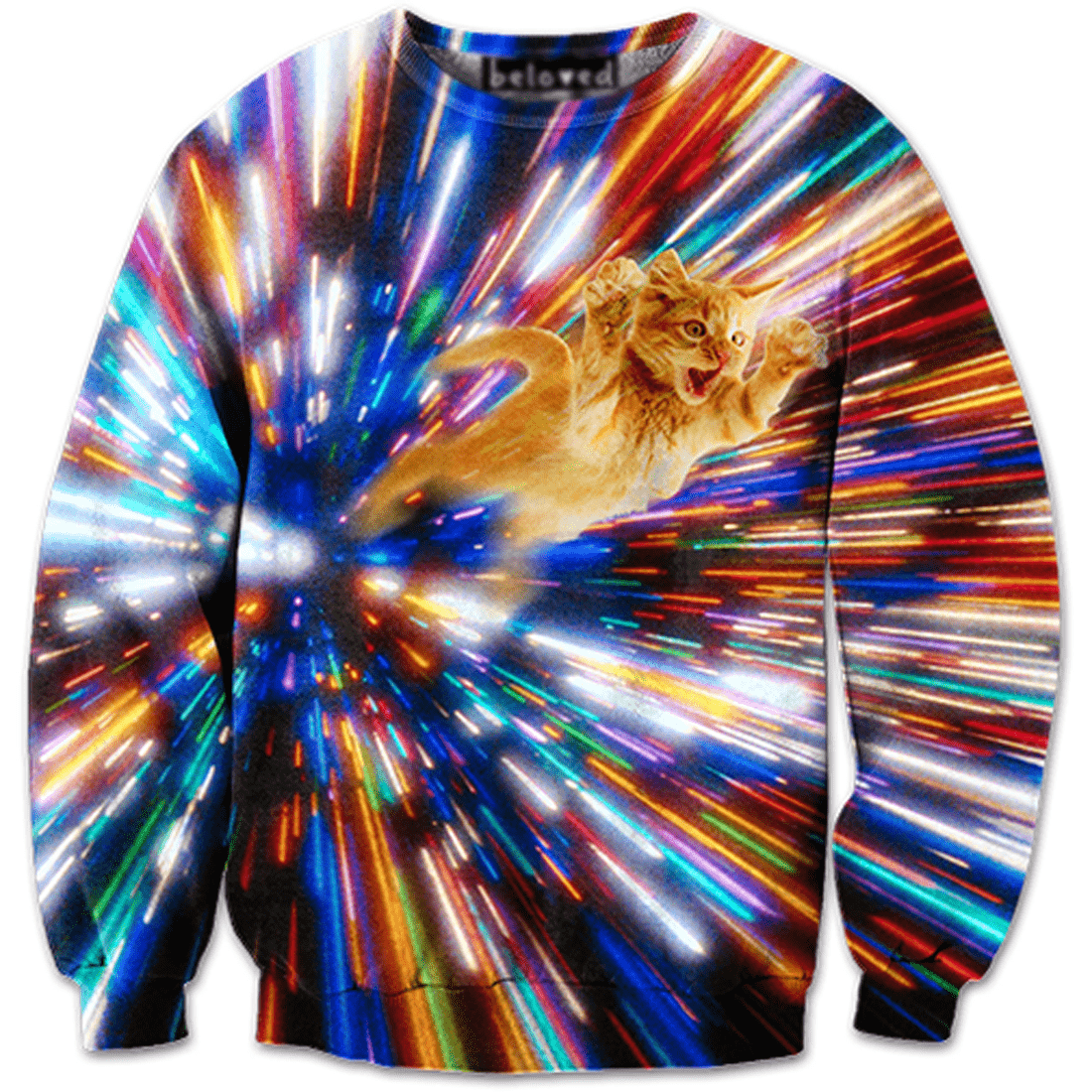 Psychedelic Vortex Kitty Cat Graphic Print Sweater in Rainbow Colors
