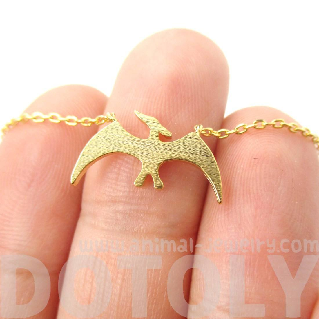 Pterodactyl Dinosaur Silhouette Animal Themed Charm Necklace in Gold