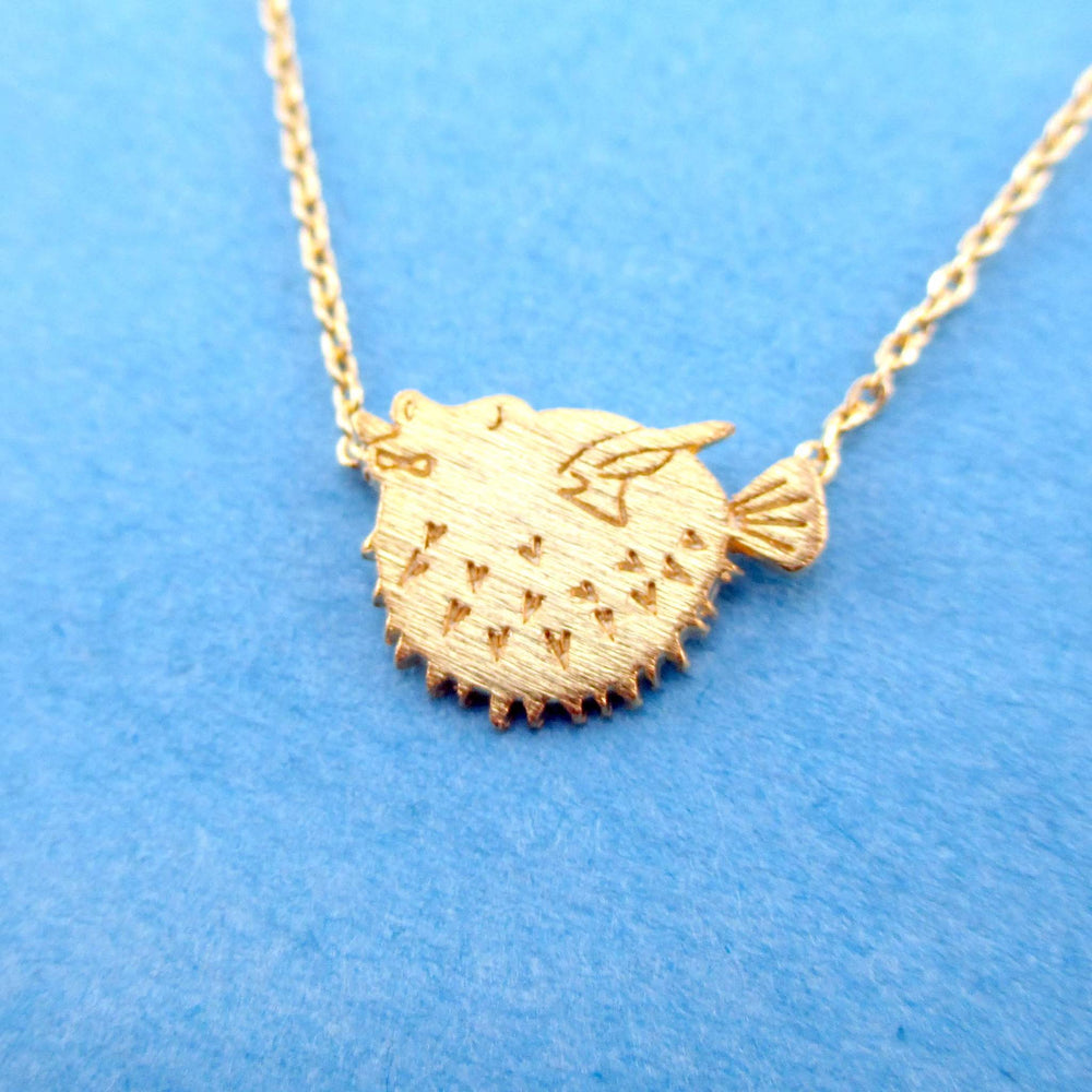 Pufferfish Fish Shaped Marine Life Themed Pendant Necklace in Gold