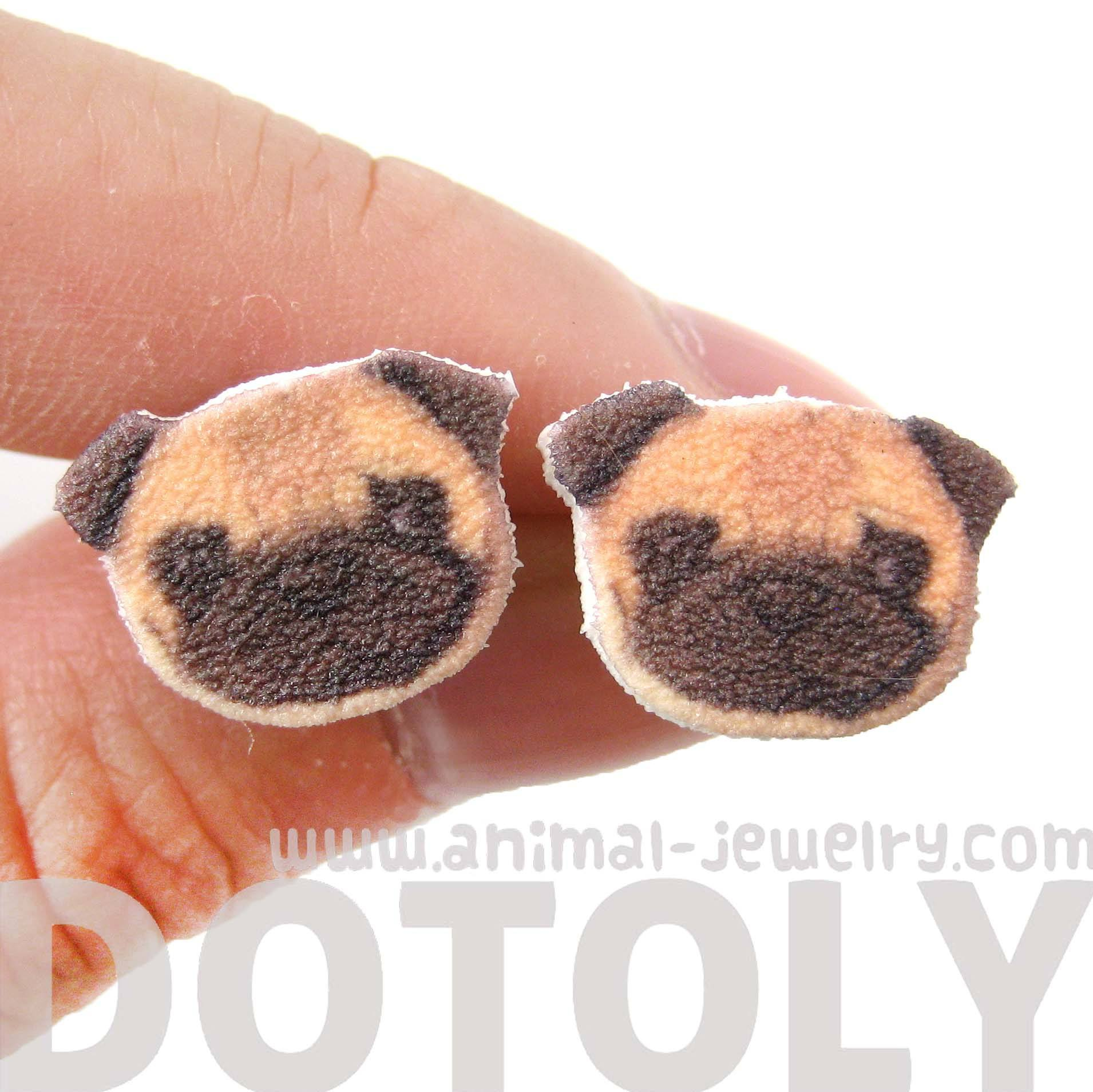 Pug Puppy Dog Animal Head Shaped Stud Earrings | Handmade Shrink Plastic