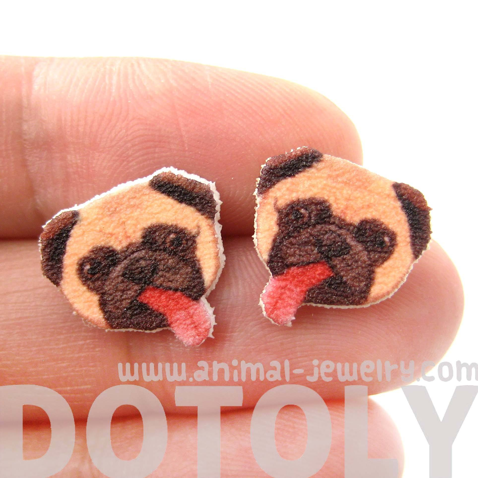 Pug Puppy Dog Animal Head Shaped Stud Earrings With Tongues Sticking Out