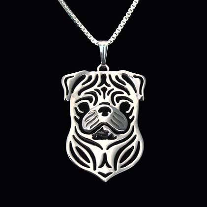 Pug Puppy Dog Cut Out Shaped Pendant Necklace in Silver