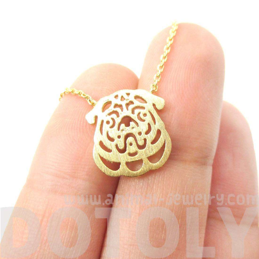 Adorable Pug Puppy Dog Face Shaped Dye Cut Pendant Necklace in Gold