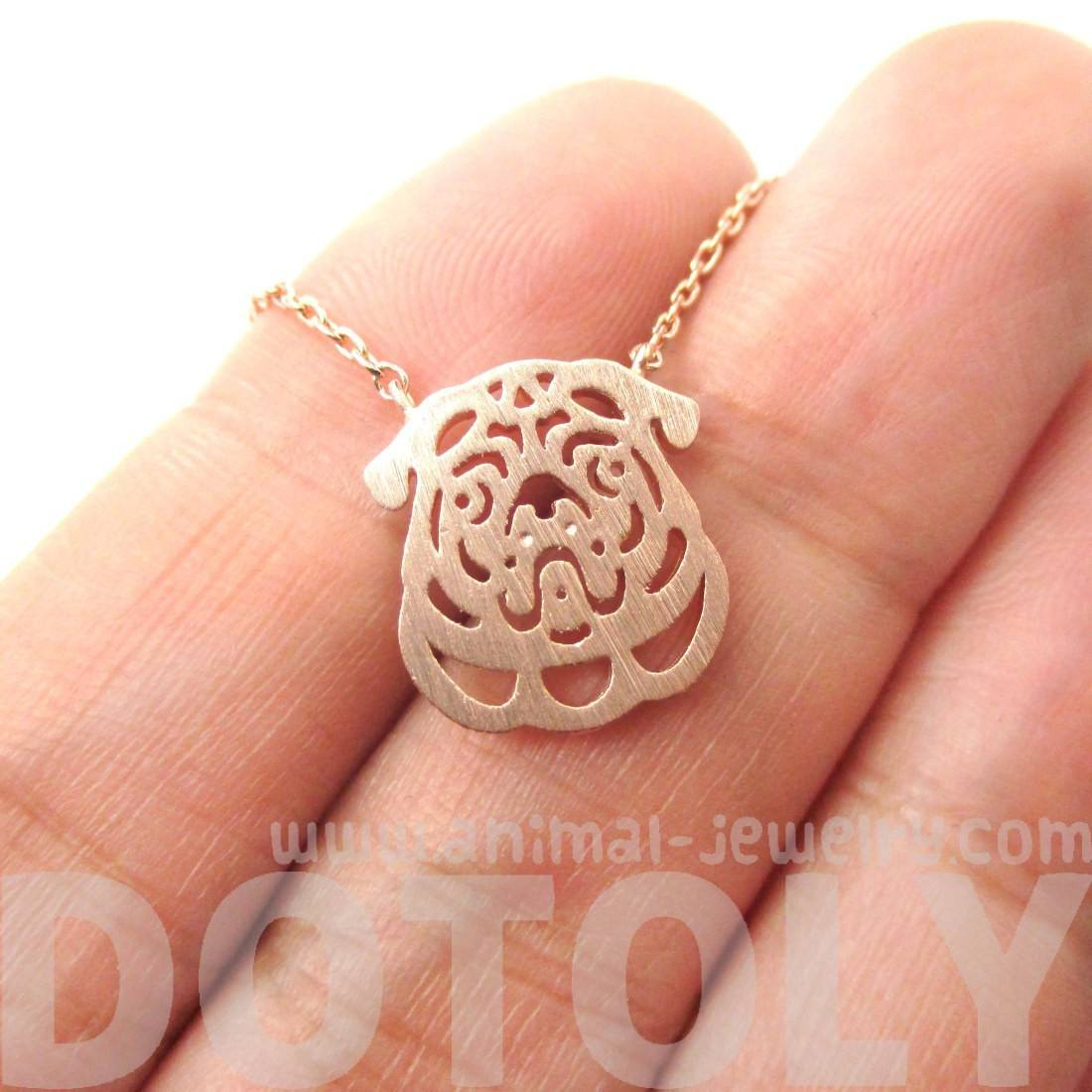 Pug Puppy Dog Face Cut Out Shaped Pendant Necklace in Rose Gold
