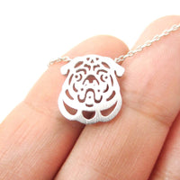 Pug Puppy Dog Face Cut Out Shaped Animal Pendant Necklace in Silver