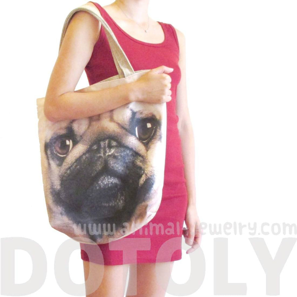 Pug Puppy Dog Face Print Hemp Fabric Tote Shopper Bag