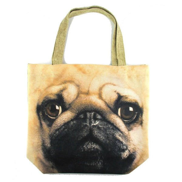 Pug Puppy Dog Face Print Hemp Fabric Tote Shopper Bag | Gifts for Dog Lovers | DOTOLY