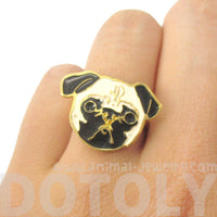 Adorable Pug Dog Face Shaped Limited Edition Adjustable Animal Ring