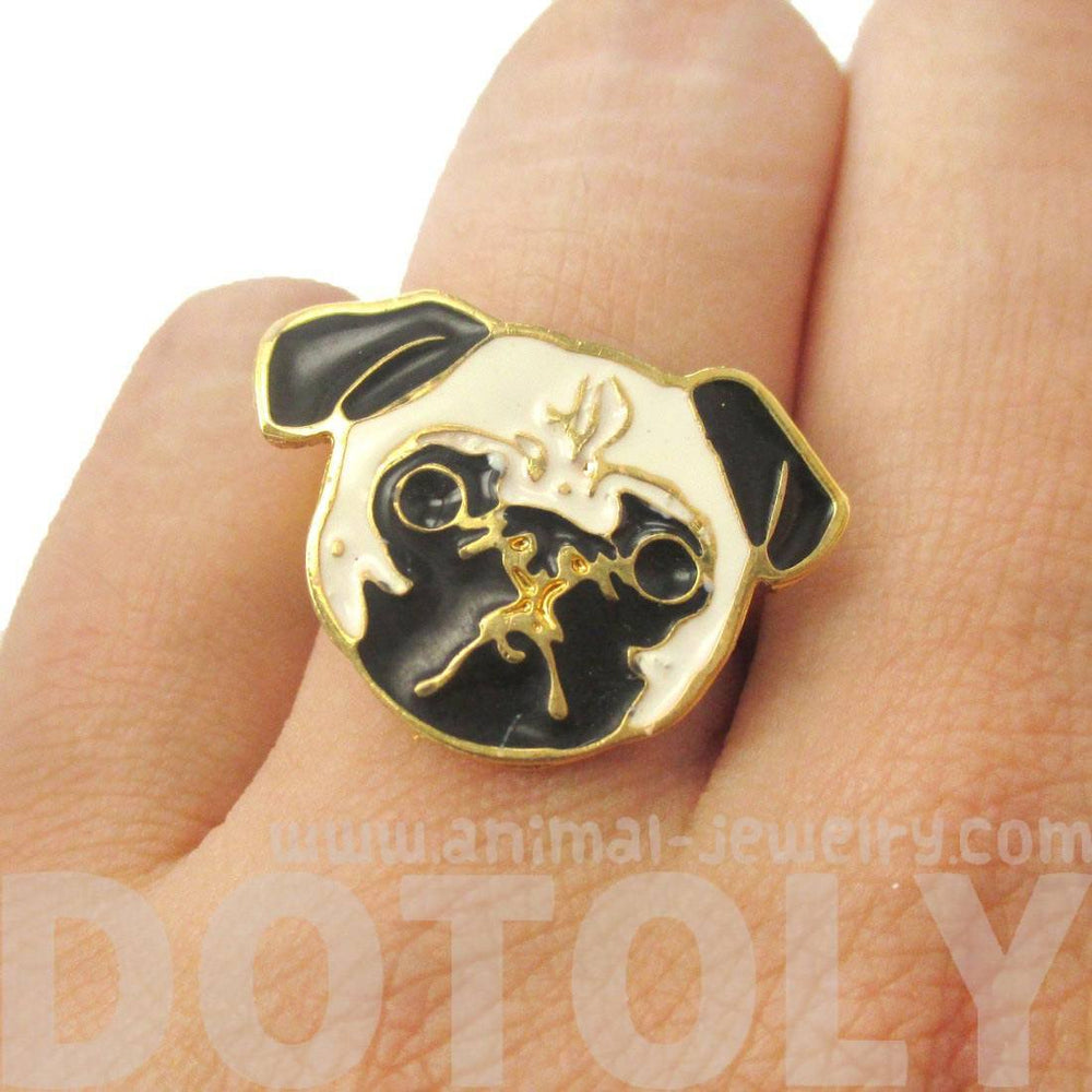Pug Puppy Dog Face Shaped Adjustable Animal Ring | Limited Edition Jewelry | DOTOLY
